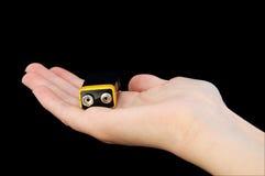 рука pp3 батареи 9v черная Стоковые Фотографии RF