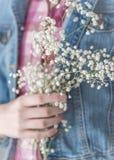 Рука ` s девушки держа чувствительное белое дыхание ` s младенца цветет стоковое фото