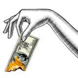 Рука ` s женщины с гореть банкноту 100 долларов бесплатная иллюстрация