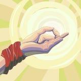 Рука ` s йоги на светлой солнечной предпосылке Стоковые Изображения