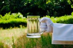 Рука ` s кельнера в белой перчатке держит стекло пива на фоне природы стоковая фотография rf