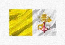 Рука Vatican City State покрасила развевая национальный флаг, краску масла иллюстрация вектора