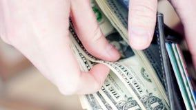 Руки бизнесмена подсчитывая долларовые банкноты в бумажнике видео 4K UltraHD сток-видео