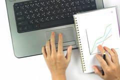 Руки бизнес-леди работают Стоковое Фото