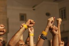 руки вверх на фестивале концерта стоковые фотографии rf