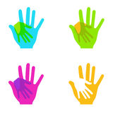 Руки вектора современные красочные держа комплект на белизне Стоковое фото RF