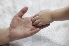 Руки взрослого и малыша Стоковое Изображение RF