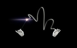 Руки волшебника с волшебным фокусом показа палочки Стоковая Фотография RF