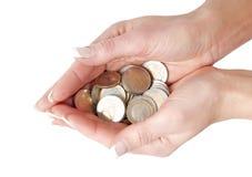 Руки вполне монеток евро Стоковая Фотография RF