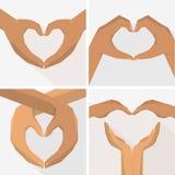 Руки в форме сердца, плоского комплекта стиля Стоковое Фото