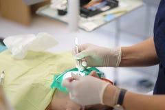 Руки дантиста на работе Стоковое Изображение RF