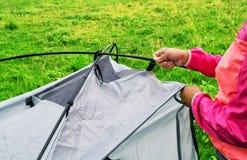 Руки девушки в розовой куртке собирая туристский шатер Стоковое Фото