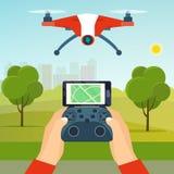 Руки держа регулятор трутня Quadcopter летая трутня в парке иллюстрация вектора