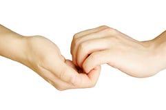 руки держа совместно Стоковая Фотография