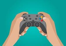 Руки держа gamepad иллюстрация штока