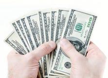 руки долларов кредиток мыжские Стоковые Изображения RF