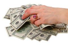 руки доллары кольца вороха Стоковые Изображения