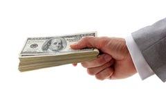 руки доллары кучи удерживания Стоковые Фото