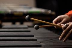Руки девушки играя ксилофон Стоковое Фото