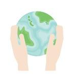 2 руки держат землю планеты в плоском стиле Символ уважения для окружающей среды иллюстрация вектора