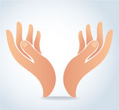 Руки держа вектор дизайна, руки молят логотип Стоковые Фото