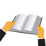 Руки держа книгу изолированный над белой предпосылкой, иллюстрацией вектора в плоском дизайне для вебсайтов, Infographic иллюстрация вектора