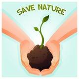 2 руки держа молодое зеленое растение иллюстрация штока