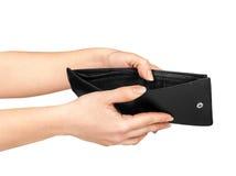Руки держа открытый бумажник Стоковые Фото
