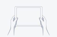 Руки держа таблетку иллюстрация вектора
