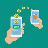 Руки держа smartphones Apps оплаты банка бесплатная иллюстрация