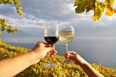 2 руки держа wineglases против виноградников в зоне Lavaux, Стоковое фото RF