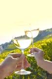 2 руки держа wineglases Стоковая Фотография RF
