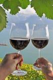 2 руки держа wineglases Стоковые Изображения