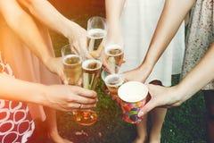 Руки женщины держа красочные стекла и провозглашать шампанское a Стоковое Изображение RF