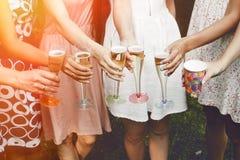 Руки женщины держа красочные стекла и провозглашать шампанское a Стоковое Изображение