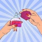 Руки женщины искусства шипучки держа бутылку роскошного дух иллюстрация штока