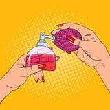 Руки женщины искусства шипучки с бутылкой роскошного дух бесплатная иллюстрация