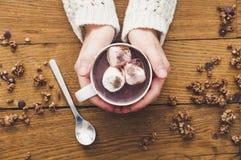 Руки женщины и чашка горячего шоколада стоковое изображение rf