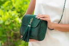 Руки женщины с роскошной handmade зеленой сумкой питона snakeskin Красивая азиатская предпосылка Стоковая Фотография RF