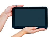Руки женщины с таблеткой Стоковое фото RF