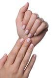 Руки женщины с французским маникюром Стоковые Фото