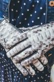 Руки женщины с черно-белыми модными перчатками питона snakeskin outdoors Стоковое Фото