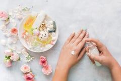 Руки женщин прикладывают домодельную сливк стоковое фото rf