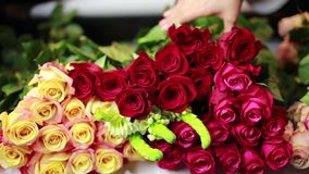 Руки женщин принимают розовые розы на внешней витрине магазина акции видеоматериалы