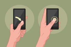 Руки используя мобильное устройство Стоковое фото RF