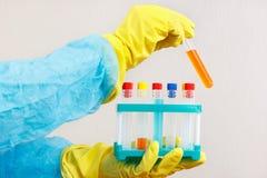 Руки исследователя в резиновых перчатках делая химические эксперименты в лаборатории Стоковая Фотография RF