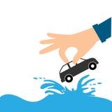 Руки и автомобиль страхсбор дома рук над малой белизной бесплатная иллюстрация