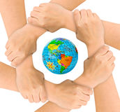 Руки и глобус Стоковое Изображение RF