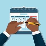 Руки и календарь иллюстрация штока