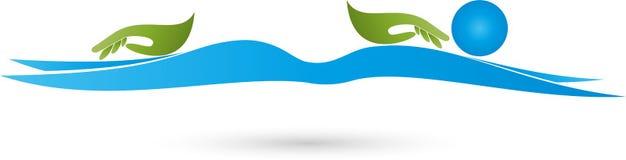 2 руки и человеческого, массаж и naturopathic логотип Стоковое Изображение
